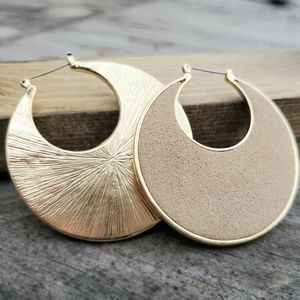 Gold Toned Round Earrings